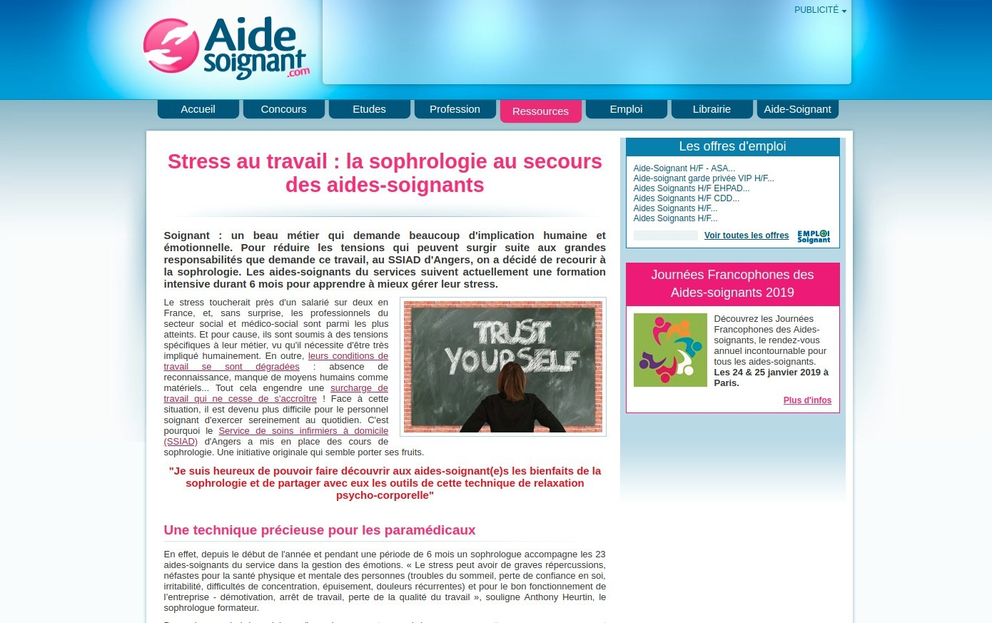 Aide soignant article sophrologie angers stress travail