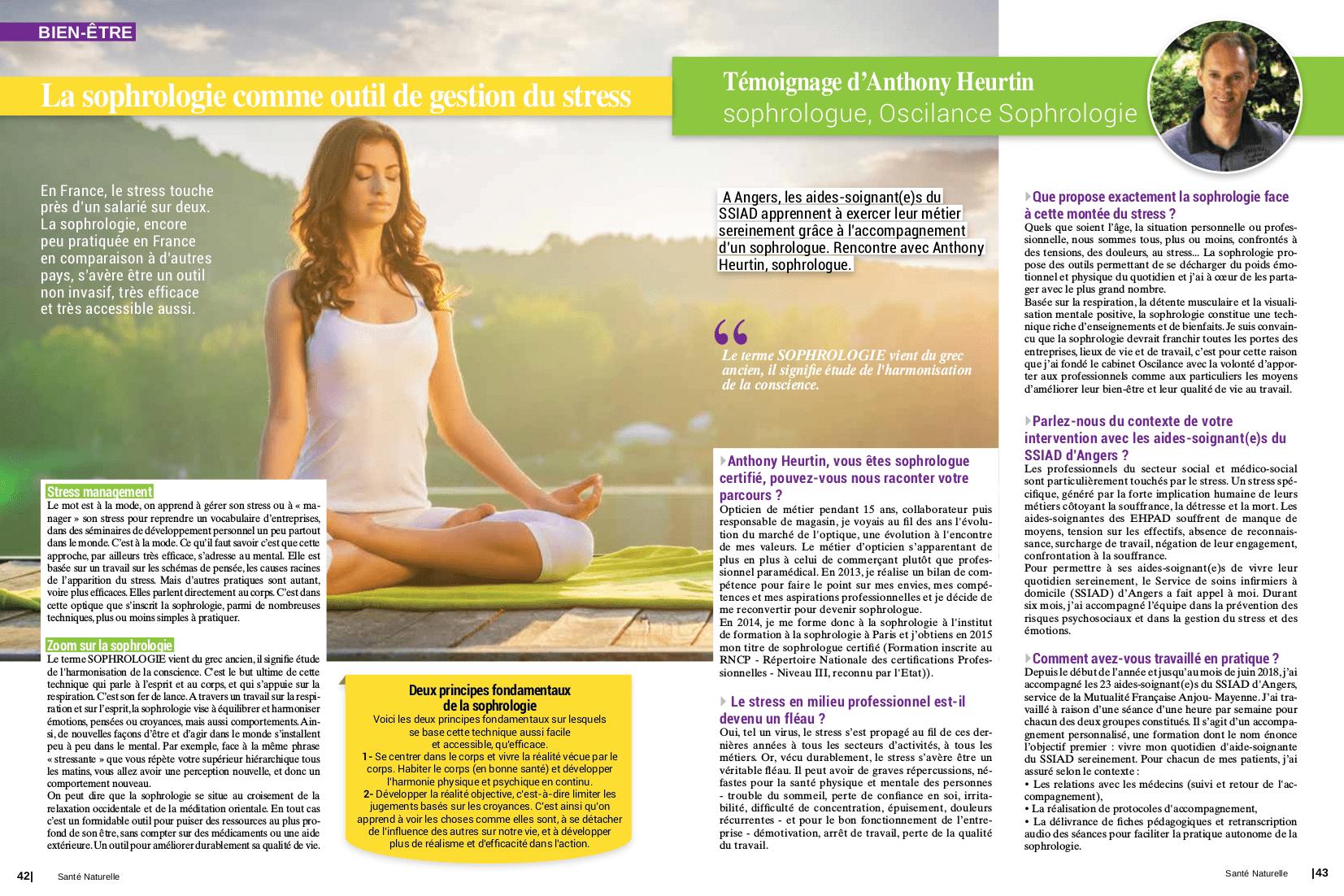 Article-Santé-Naturelle-Magazine-64-article-stress-sophrologie-aides-soigantes-sophrologue-entreprise-angers-prevention-risques-psychosociaux-oscilance-Anthony-Heurtin