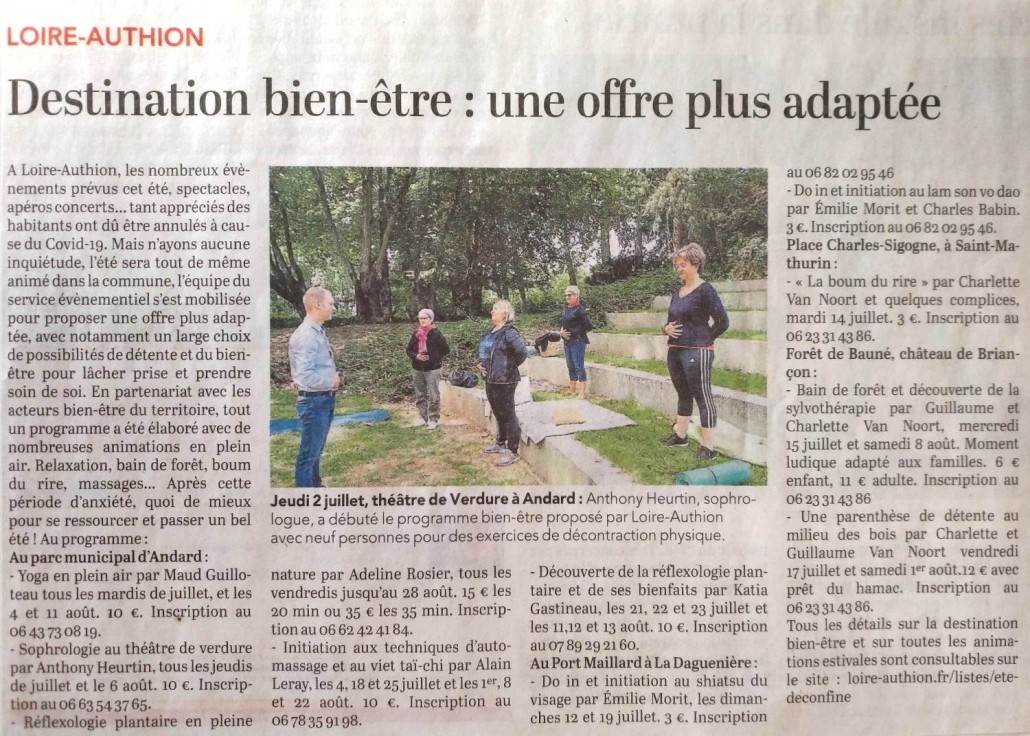 article-courrier ouest-sophrologie-sophrologue-loire authion-andard-parc-nature